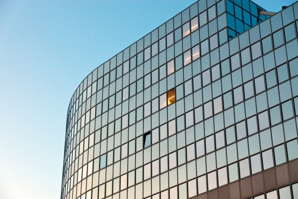Modern office building at sunrise